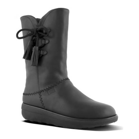 FitFlop All Black Leather Mukluk High Boots With Tassels