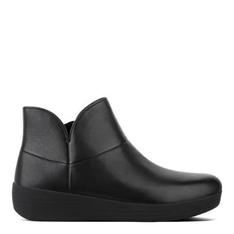 FitFlop All Black Leather Supermod Ankle Boots II