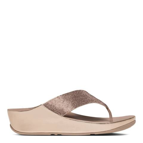 FitFlop Rose Gold Crystall Toe Thong Sandals