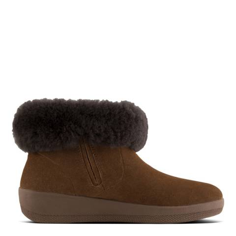 FitFlop Chestnut Leather/Shearling Skatebootie