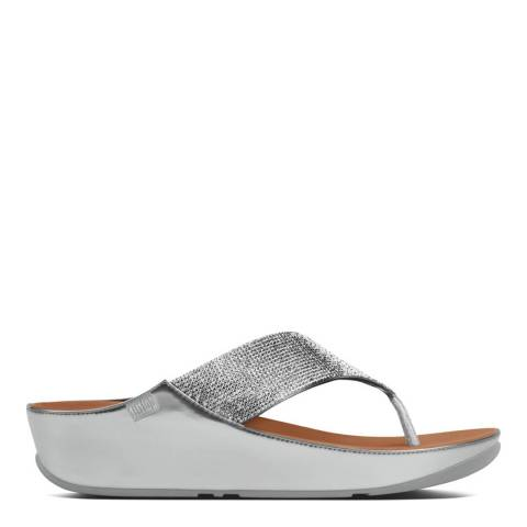 FitFlop Women's Silver Crystall Toe Thong Sandal