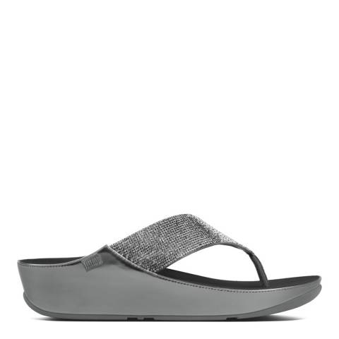 FitFlop Pewter Crystall Toe Thong Sandals