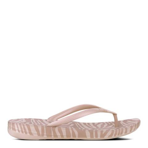 FitFlop Nude Mix Tiger Print Iqushion Ergonomic Flip Flops