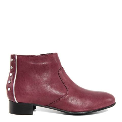 Giorgio Picino Burgundy Leather Studded Ankle Boots