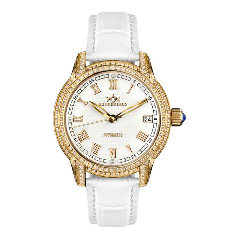 Hindenberg Women's White Duchess Gold Leather Watch