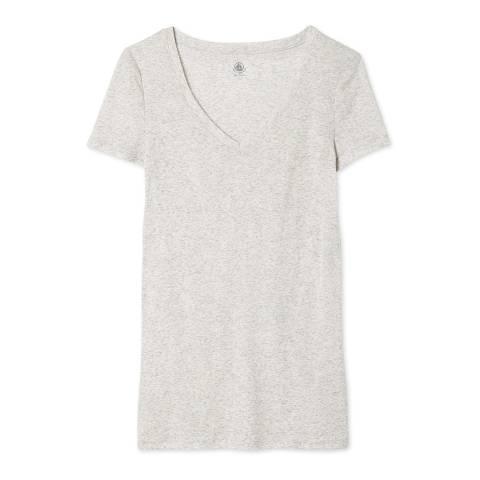 Petit Bateau  Light Grey Cotton V-neck T-Shirt