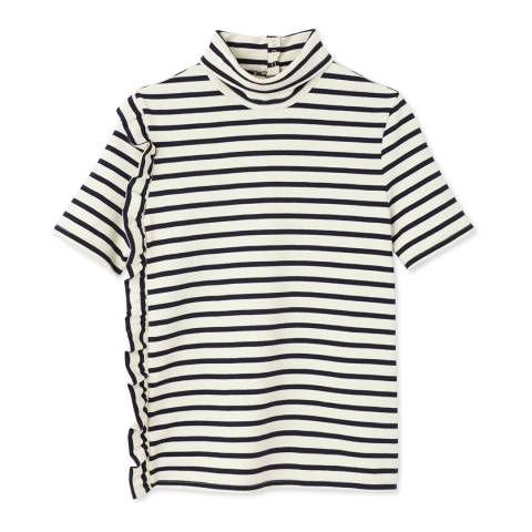 Petit Bateau Beige/Navy High Neck Top