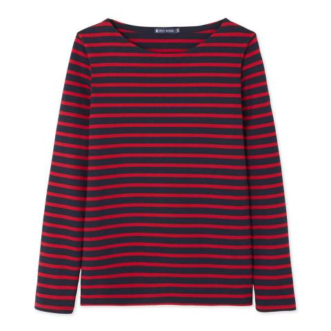 Petit Bateau Navy/Red Heavy Jersey Sailor Top
