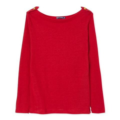 Petit Bateau Red Long Sleeves Linen Top