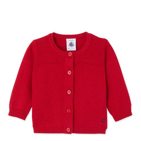 Petit Bateau Red Wool Cotton Blend Cardigan