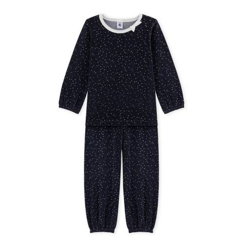 Petit Bateau Midnight/Silver Terry Cotton Blend Velour Pyjamas