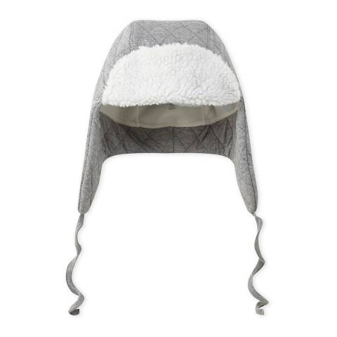 Petit Bateau Light Grey Quilted Cotton Blend Trapper Hat