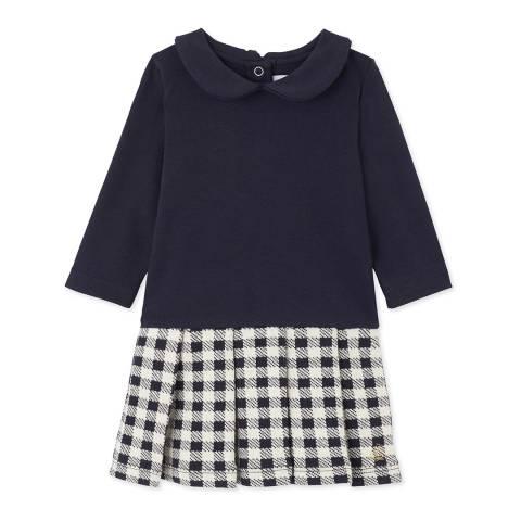 Petit Bateau Midnight/Beige Dual Fabric Cotton Dress
