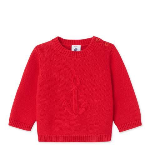 Petit Bateau Red Anchor Cotton Jumper