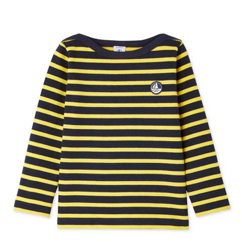Petit Bateau Midnight/Yellow Breton Cotton Top