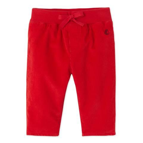 Petit Bateau Red Stretch Cotton Blend Velour Pants