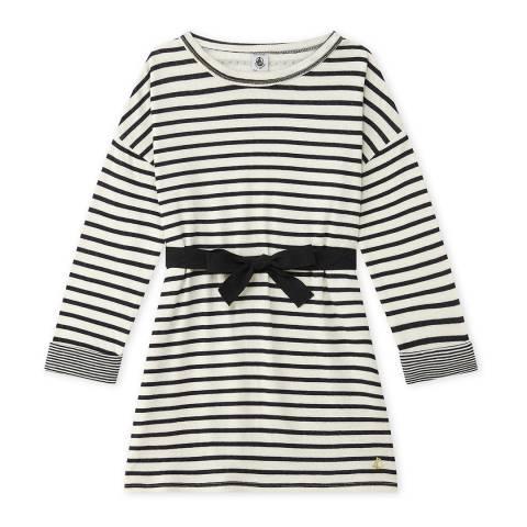 Petit Bateau Beige/Midnight Striped Cotton Dress