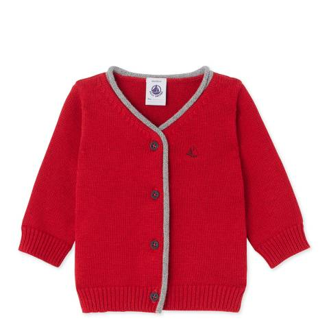 Petit Bateau Red Cotton Wool Blend Knit Cardigan