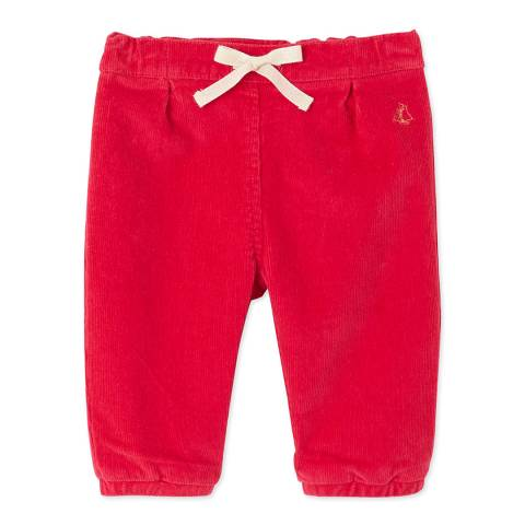 Petit Bateau Red Cotton Stretch Velour Trousers