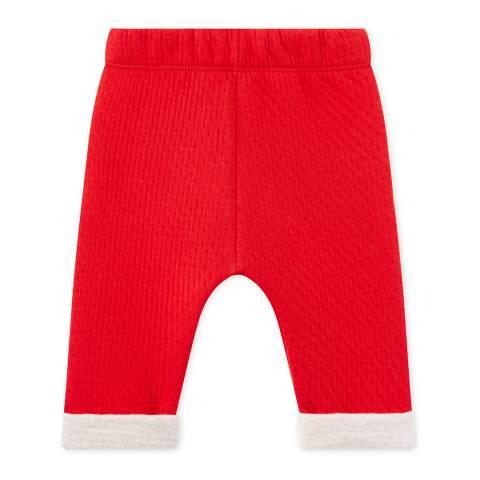 Petit Bateau Red Contrast Cuff Cotton Blend Trousers