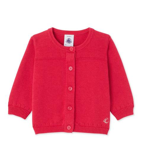Petit Bateau Fuchsia Wool Cotton Blend Cardigan