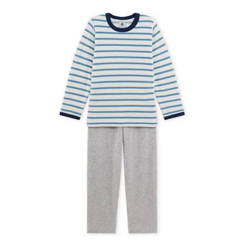 Petit Bateau Sky Blue/Grey Sailor Stripe Cotton Blend Pyjamas