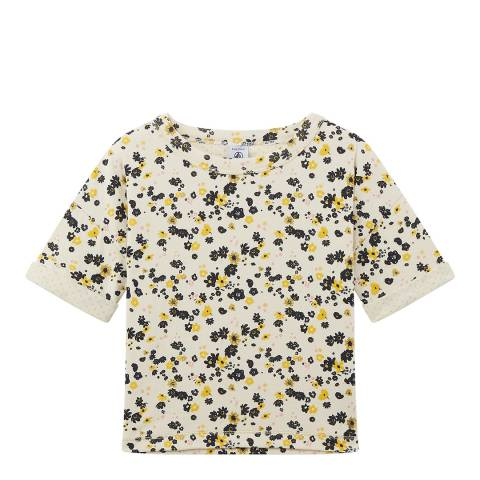 Petit Bateau Beige/Yellow Floral Printed Cotton T-Shirt