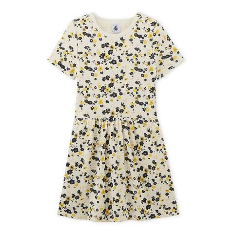 Petit Bateau Beige/White Flower Print Double Knit Cotton Dress