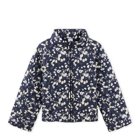 Petit Bateau Navy/White Floral Puffa Hidden Hooded Jacket
