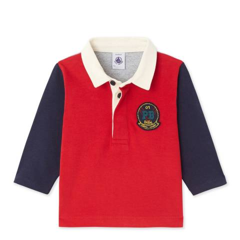 Petit Bateau Red/Navy Colourblock Cotton Polo Shirt