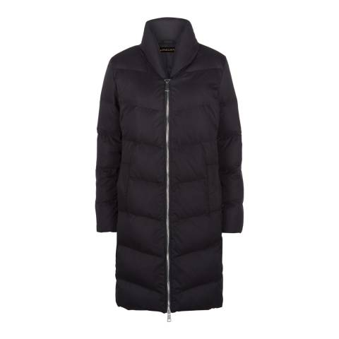 Jaeger Black Zip Front Long Puffa Jacket