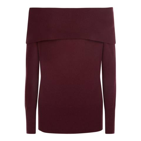 Jaeger Red Wool Cashmere Off Shoulder Jumper