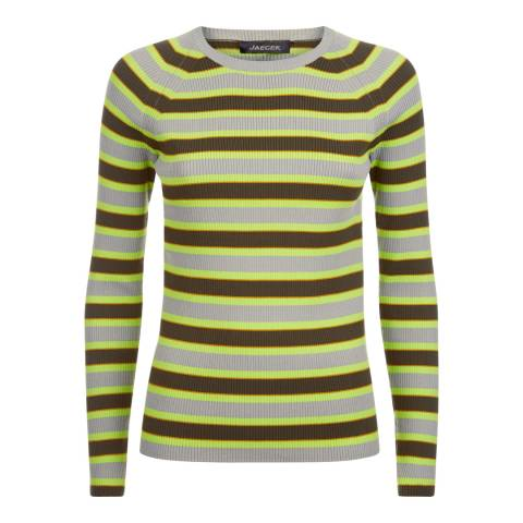 Jaeger Grey/Green/Multi Striped Ribbed Sweater