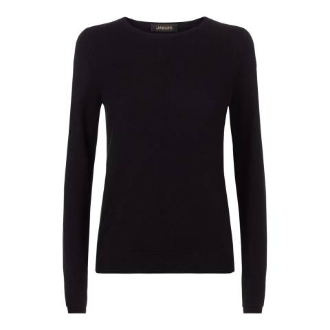 Jaeger Black Wool Cashmere Double Trim Crew Neck Jumper