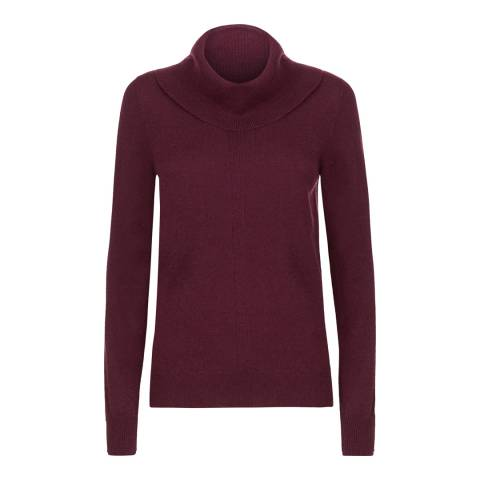Jaeger Red Wool Cashmere Double Trim Cowl Neck Jumper