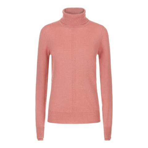 Jaeger Pink Wool Cashmere Double Trim Roll Neck Jumper