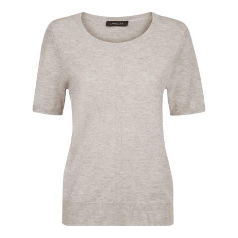 Jaeger Grey Wool Cashmere Short Sleeve Sweater