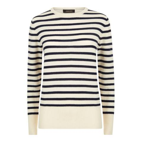 Jaeger Cream Wool Cashmere Striped Sweater