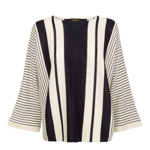 Jaeger White/Black Striped Rib Wool Blend Cropped Sweater