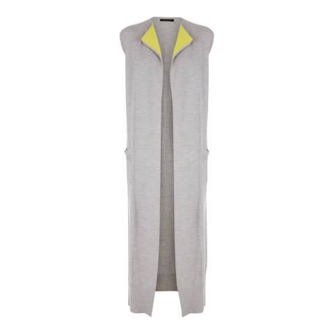 Jaeger Grey/Green Rib Detail Longline Wool Gilet
