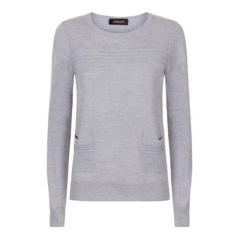 Jaeger Grey Fine Knit Rib Detail Pocket Wool Jumper