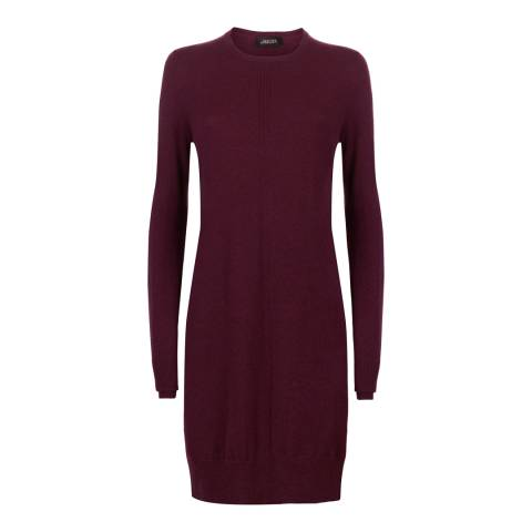 Jaeger Red Wool Crew Neck Dress