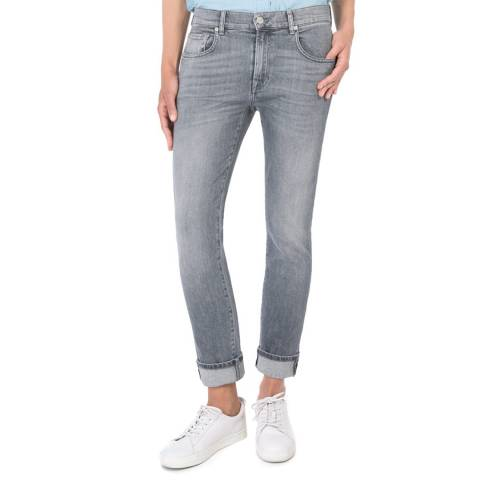 7 For All Mankind NY Grey Relaxed Skinny Stretch Jeans