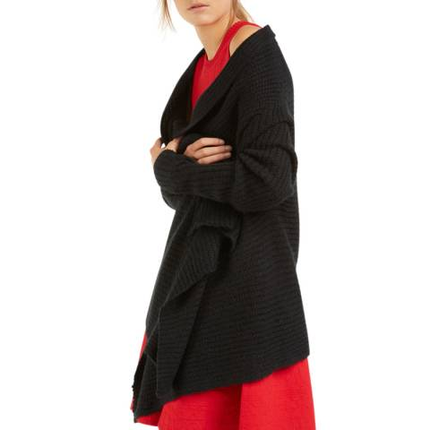 Rodier Dark Grey Short Drape Cardigan