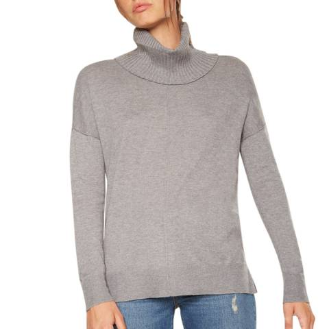 Rodier Grey Relaxed Turtle Neck Wool/Silk/Cashmere Blend Jumper