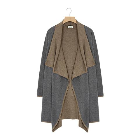 Rodier Grey Double Faced Wool/Silk/Cashmere Blend Long Coat