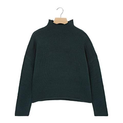 Rodier Spruce Green Mock Neck Wool Jumper