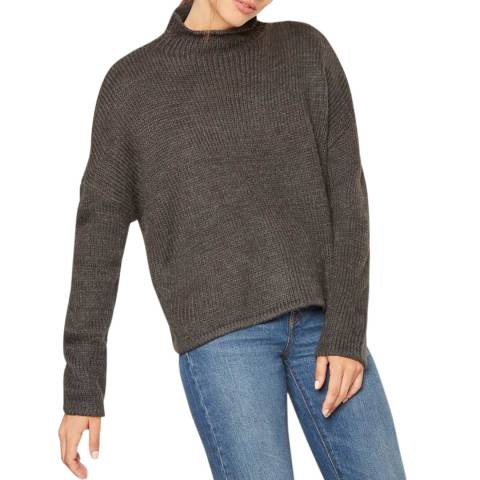 Rodier Charcoal Mock Neck Wool Jumper