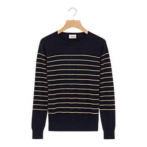 Rodier Navy/Gold Crew Neck Cashmere/Cotton Blend Jumper