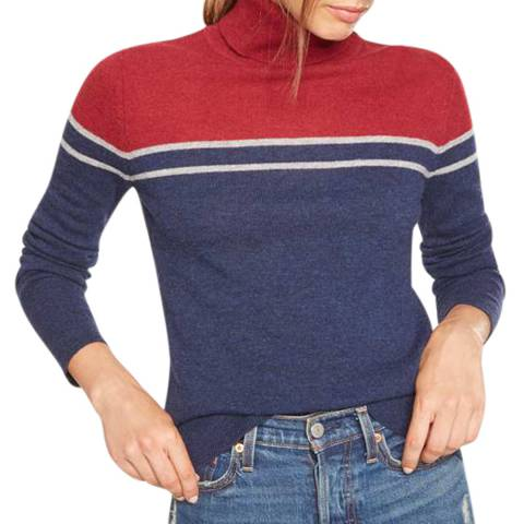 Rodier Navy Turtle Neck Colour Block Wool Jumper